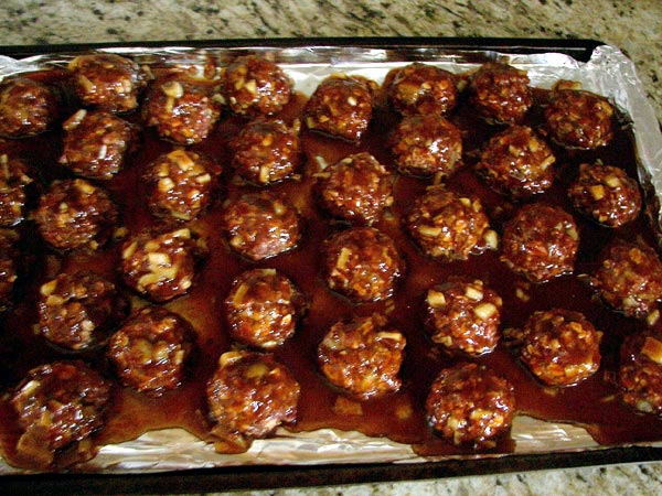 Easy BBQ Meatballs on a cooking tray
