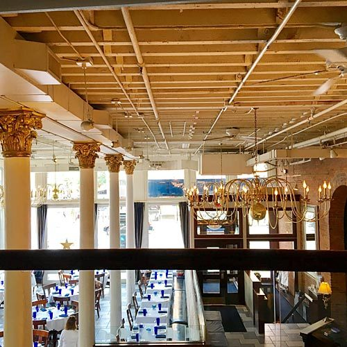 Interior and exterior of the Blue Point Grill